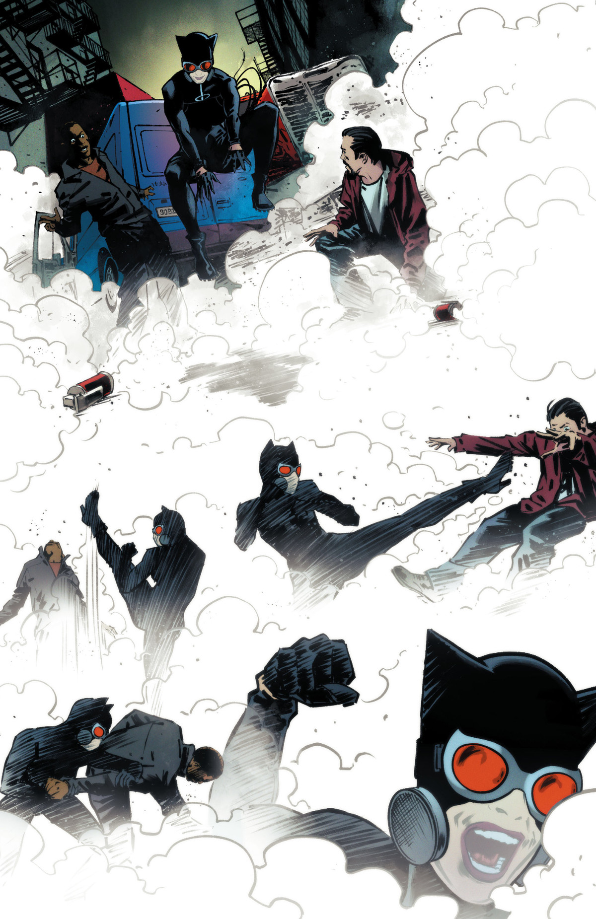 Wearing a gas mask, Catwoman throws down two smoke bombs and takes out a group of men, hand to hand, in Catwoman #27, DC Comics (2020).