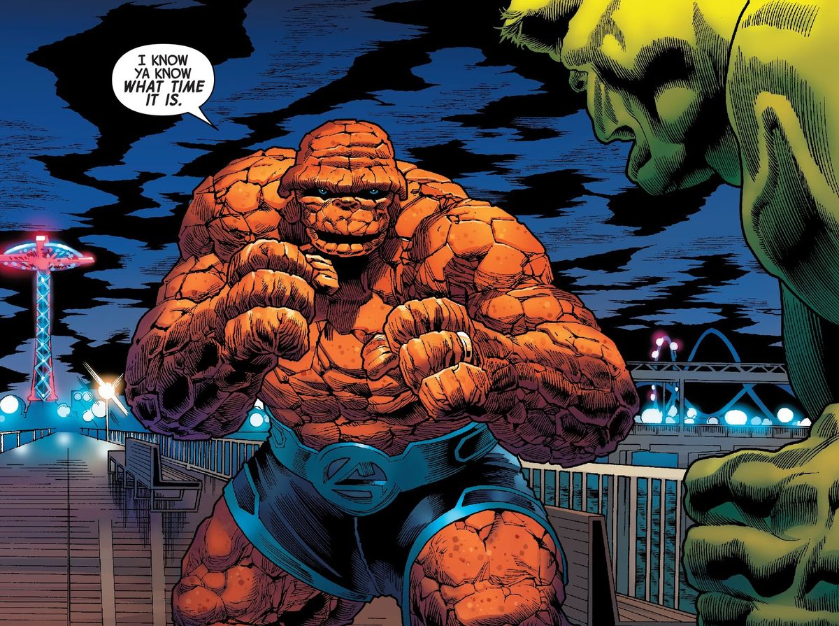 """The Thing squares up against the Hulk on the Coney Island boardwalk, and simply says, """"I know ya know what time it is,"""" in The Immortal Hulk #40, Marvel Comics (2020)."""