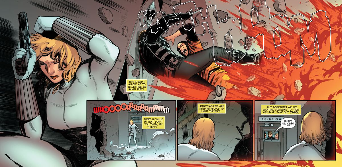 """Yelena Belova, former Black Widow, dodges the explosion that takes out her enemies. """"Sometimes we are needing people to light the way ... but sometimes we are wanting someone to — how you say? — take out trash,"""" she monologues in Widowmakers: Red Guardian and Yelena Belova #1, Marvel Comics (2020)."""