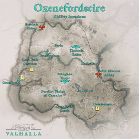 Oxenefordscire Abilities locations map
