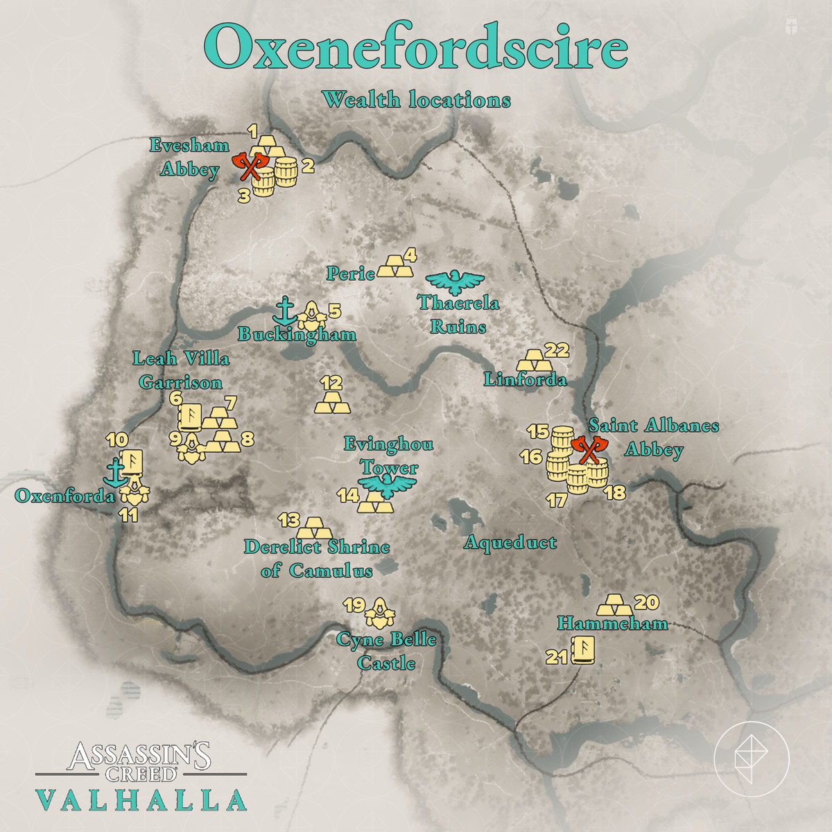 Oxenefordscire Wealth locations map