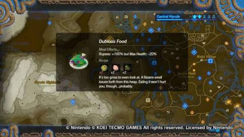 Dubious food in Age of Calamity takes away a couple of hearts while doubling your rupees.