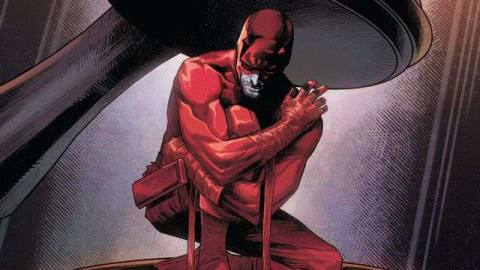 Daredevil kneels underneath a giant judge's gavel on the cover of Daredevil #24, Marvel Comics (2020).