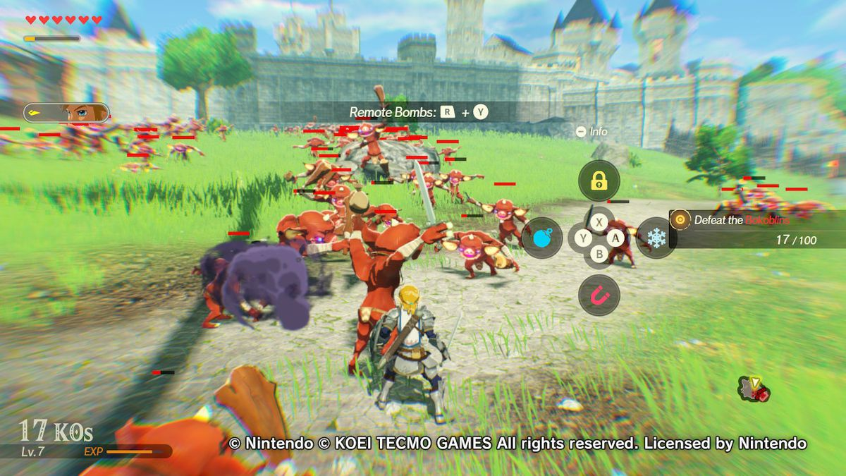 The rune attacks screen in Hyrule Warriors: Age of Calamity