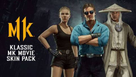 """Christopher Lambert as """"Protector of Earthrealm Raiden,"""" Linden Ashby as """"Hollywood Kombatant Johnny Cage"""" and Bridgette Wilson-Sampras as """"Island Bound Sonya Blade"""" from Mortal Kombat 11"""