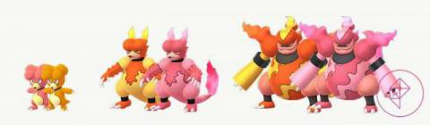 Magby, Magmar, and Magmortar with their Shiny forms. Shiny Magby is orange instead of red. Shiny Magmar and Magmortar are pink instead of yellow and orange.