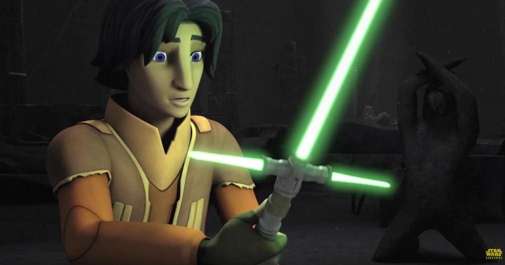 Ezra holding his green cross Rebels saber