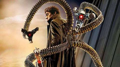 Alfred Molina as Doctor Octopus in promotional material for Spider-Man 2.