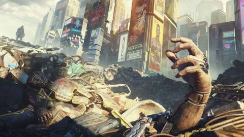 artwork of a cybernetic hand sticking up out of a landfill in Cyberpunk 2077