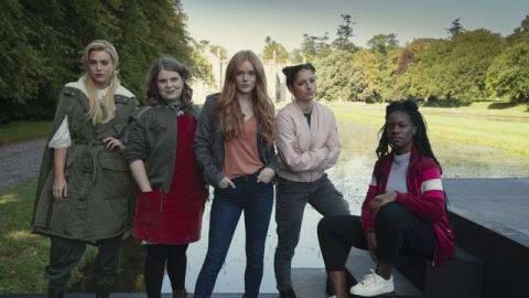 Hannah van der Westhuysen as Stella, Eliot Salt as Terra, Abigail Cowen as Bloom, Elisha Applebaum as Musa, Precious Mustapha as Aisha in Fate: The Winx Club Saga Season 1