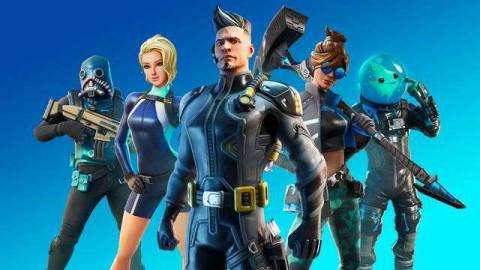 Fortnite characters standing against a blue background