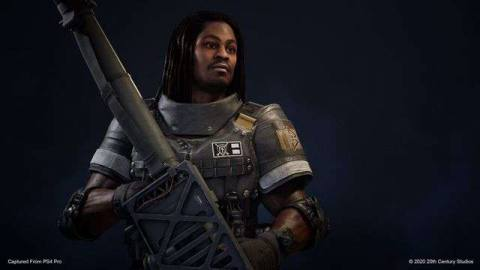 character shot of Marshawn Lynch with a rocket launcher for Predator: Hunting Grounds