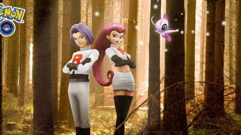 Jessie and James stand in a forest with a Pink Celebi flying nearby