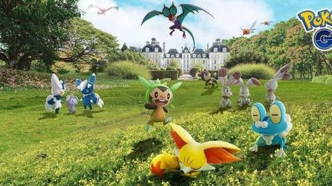 A bunch of Kalos region Pokémon stand and nap on a grassy field