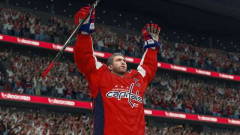 a helmetless Alex Ovechkin raises his arms in celebration in NHL 21
