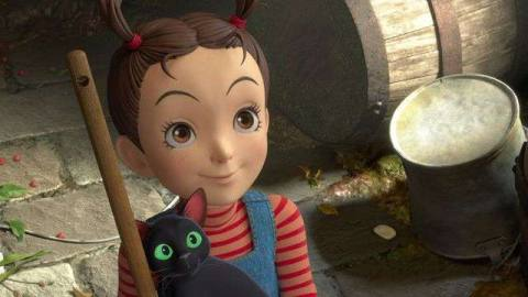 a little girl with pigtails holds a black cat