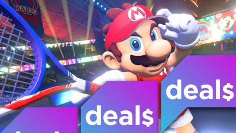 mario brandishes a tennis racquet overlaid with the polygon deals logo