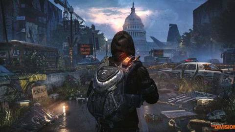 The snowy landscape of post apocalyptic Washington D.C., the United States Capitol in the distance, in Tom Clancy's The Division 2.