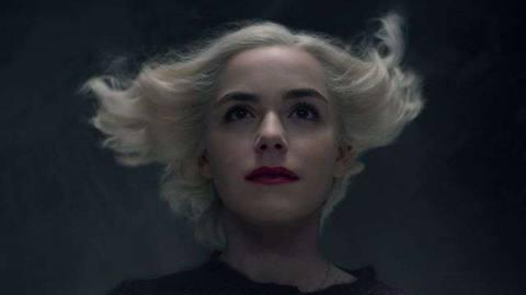 KIERNAN SHIPKA has her hair blown back as Sabrina in season 4 of Chilling Adventures of Sabrina