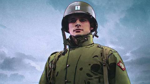 Bradley James in WWII costume with trioscope overlay in The Liberator