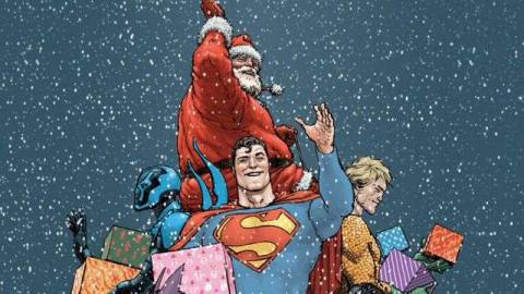 Various DC Comics superheroes help Santa hand out presents, on the cover of DC Universe Holiday Special #1 (2009).