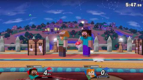 Minecraft Steve in Smash Bros. holds a Poke Ball.