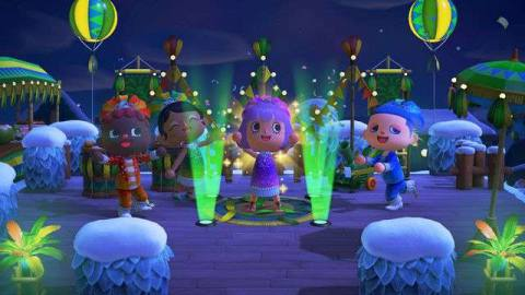 Four villagers dance in lights wearing Festivale costumes in Animal Crossing: New Horizons