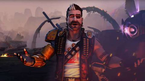 Fuse, the new character from Apex Legends season 8 Mayhem stands in a destroyed Kings Canyon