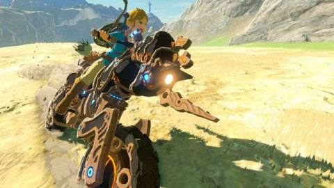 Link rides on the Master Cycle motorcycle in a screenshot from The Legend of Zelda: Breath of the Wild's DLC pack.