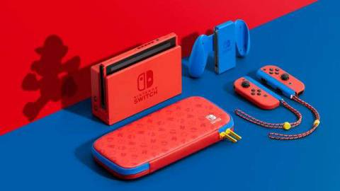 product shot of new red and blue-themed Nintendo Switch bundle