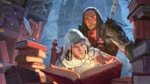 Cover art for Candlekeep Mysteries includes a pair of adventurers perusing forgotten tomes deep beneath Baldur's Gate.