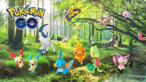 A handful of Hoenn region Pokémon gather in a forest