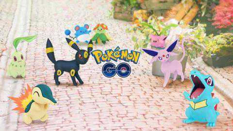 Johto region Pokémon gather on a brick path