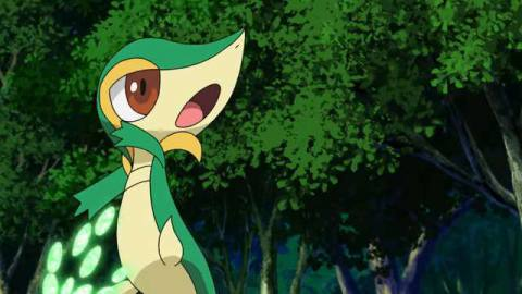 A Snivy charges up an attack in the forest
