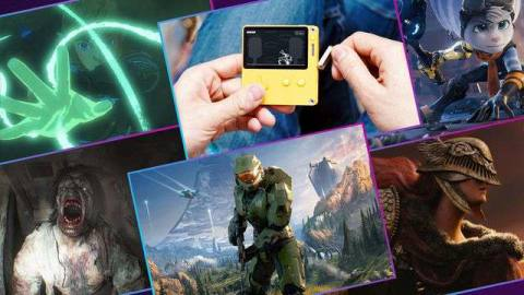 A collage of screenshots from Halo Infinite, Breath of the Wild 2, Ratchet & Clank: Rift Apart, Elden Ring, and Resident Evil Village