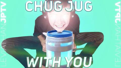 It's a young boy with ridiculous glowing eyes, sitting over a giant container of chug jug.