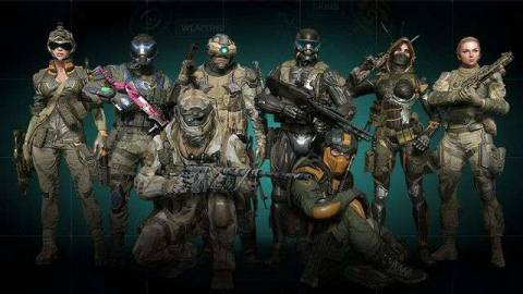 Several characters from Warface pose with guns