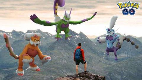 A Pokémon trainer stands on top of a mountain, approached by the Therian Forms of the Forces of Nature