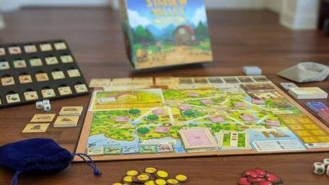 Stardew Valley: The Board Game laid out on a tabletop.