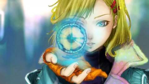 Gnosia screenshot of a blond woman holding a hologram