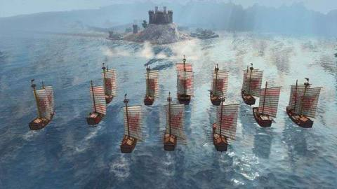 Ships sail toward a castle in Age of Empires 4