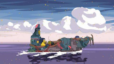 Mo sailing a rundown ship over a dark purple ocean
