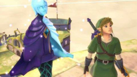 Fi and Link stand next to one another in The Legend of Zelda: Skyward Sword HD
