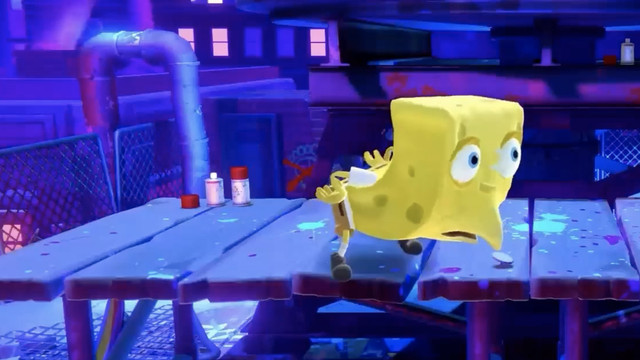 an image of Spongebob Squarepants in the new nickelodeon fighting game, his eyes are bugging out and his back is arched