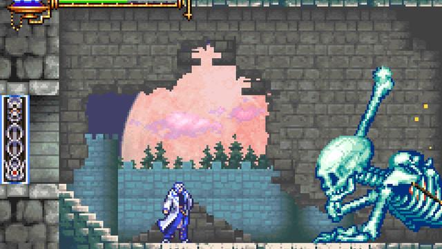 A giant skeleton in Castlevania Aria of Sorrow