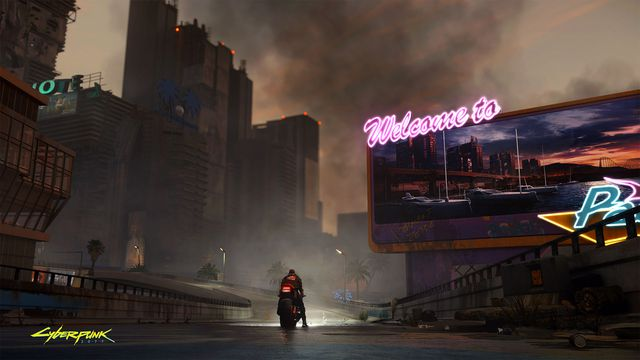 A dusk view from the streets of Night City. From CD Projekt Red's Cyberpunk 2077, E3 2019.