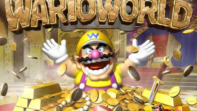Cover for the Gamecube game Wario World, showing Wario surrounded by riches and tossing coins into the air
