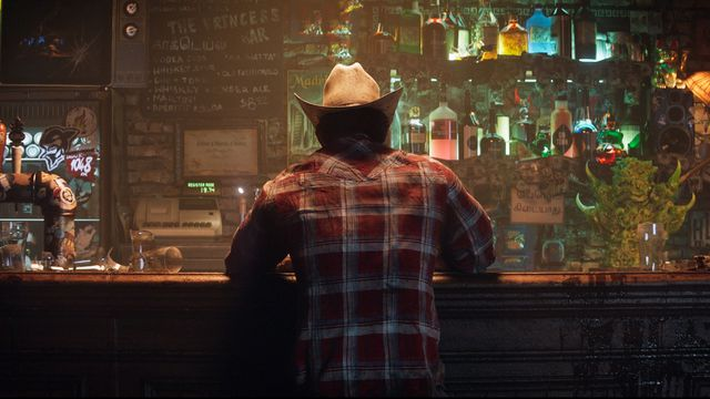 Wolverine sits at The Princess Bar in Insomniac Games' upcoming video game about him