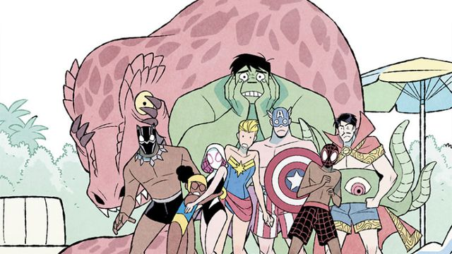 Various Avengers and friends stand poolside and horrified in their costume-themed bathing suits in It's Jeff! (2021).