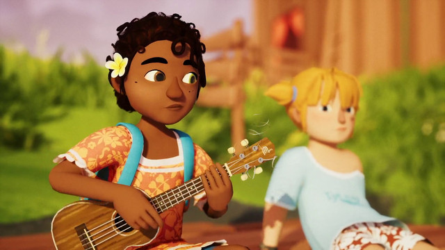 a young girl playing a ukulele in Tchia